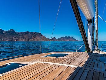 Kraken 66 Deck overlooking mountains