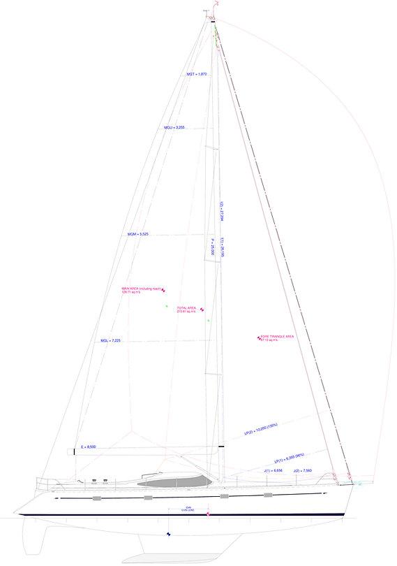 Kraken 66 ft Luxury Sailing Yacht Sail Plan