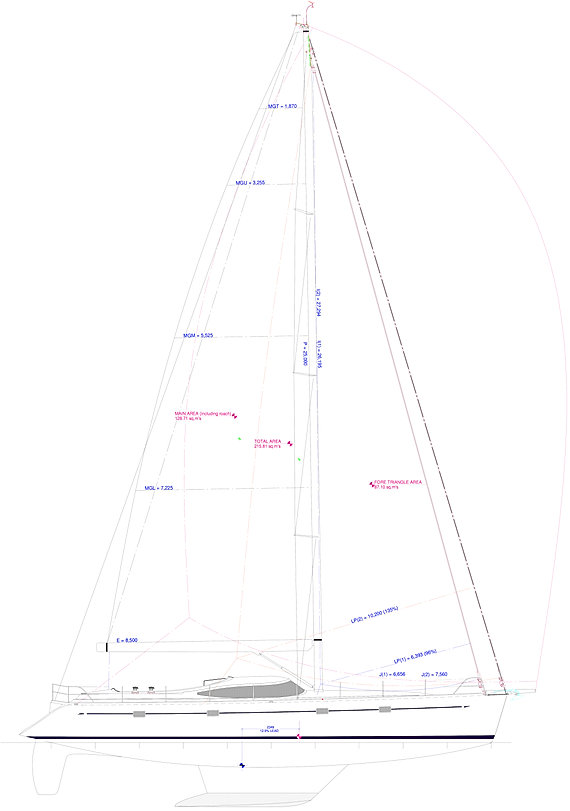 Kraken 66 ft Luxury Sailing Yacht Sail Plan