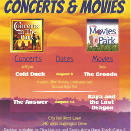 City of Arcadia – 2021 Summer Concert & Movies in the Park Series!