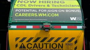 WASTE MANAGEMENT TO PLACE HIRING ADS ON THEIR TRUCKS