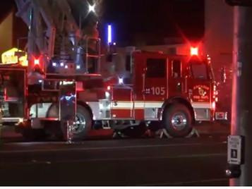 Fire at Denny's Restaurant at Huntington Drive and Santa Anita Avenue
