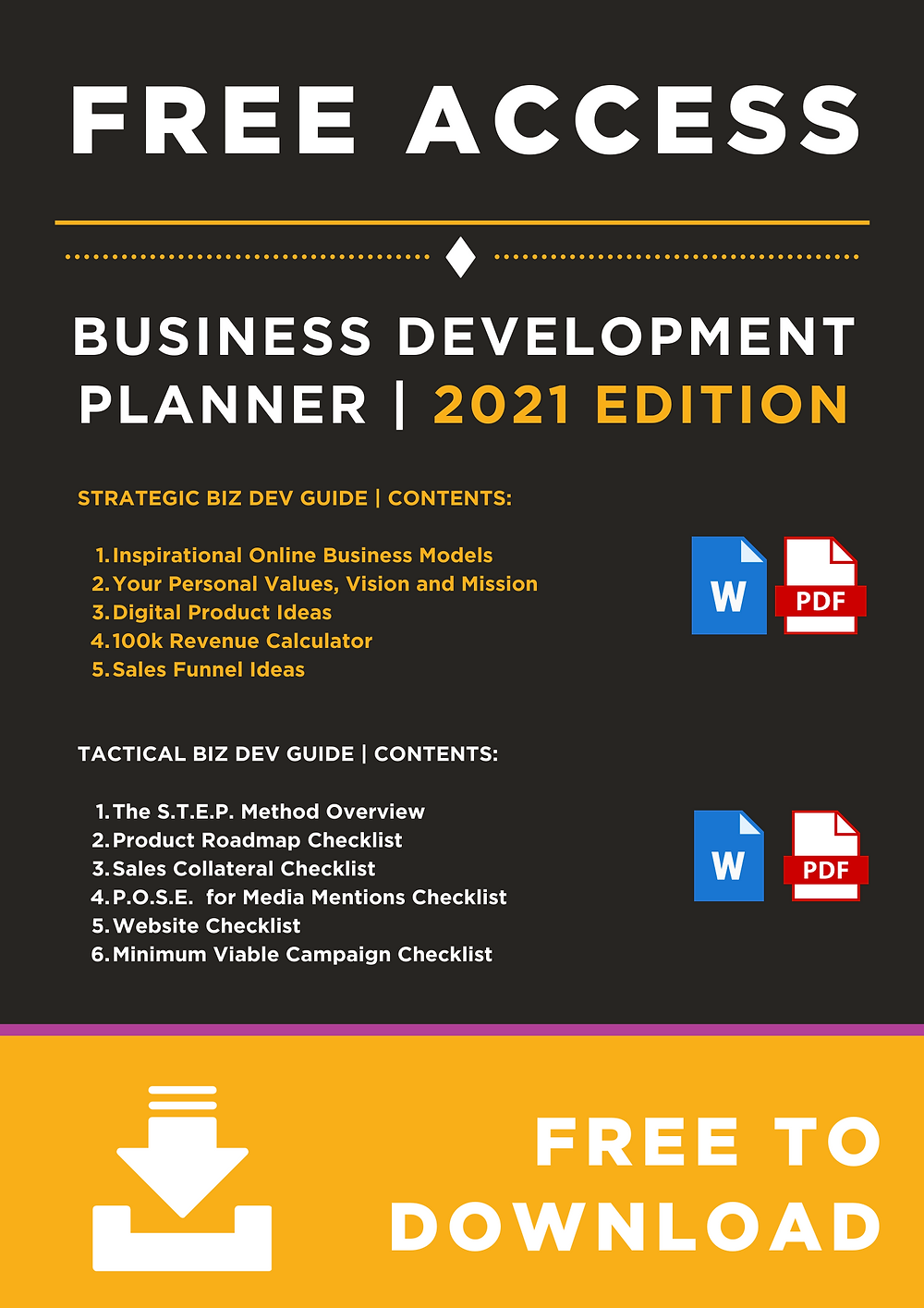 FREE ACCESS: Teach a Brand to Fish Business Development Planner (2021 Edition)