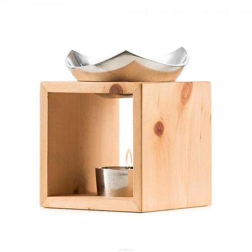 Scuol Arve Schweizer Holz Aroma Lampe mit edler Aluschale