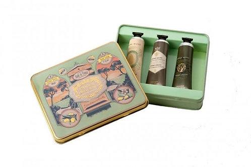 Handcremeset 30ml Mandel/Honig/Olive Edelmetallbox