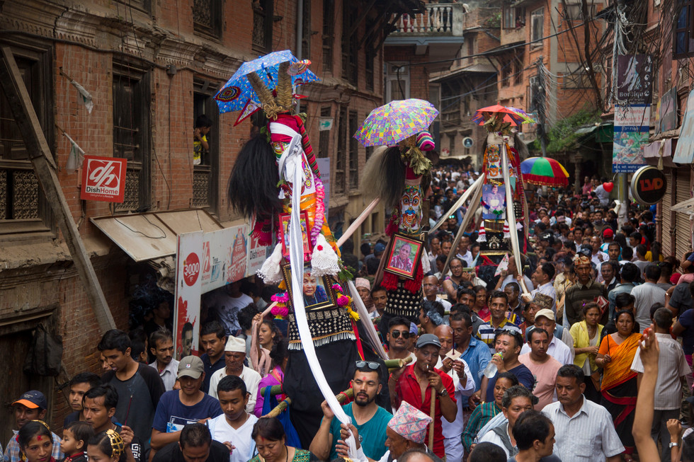 Procession in the city center, Bhaktapur 2018.