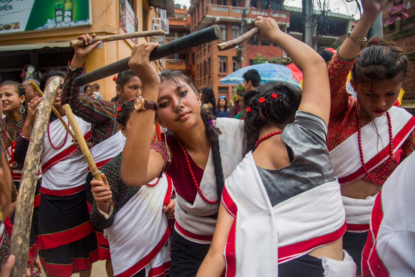 Ghintang Ghisi dance, wearing traditional newari sarees.