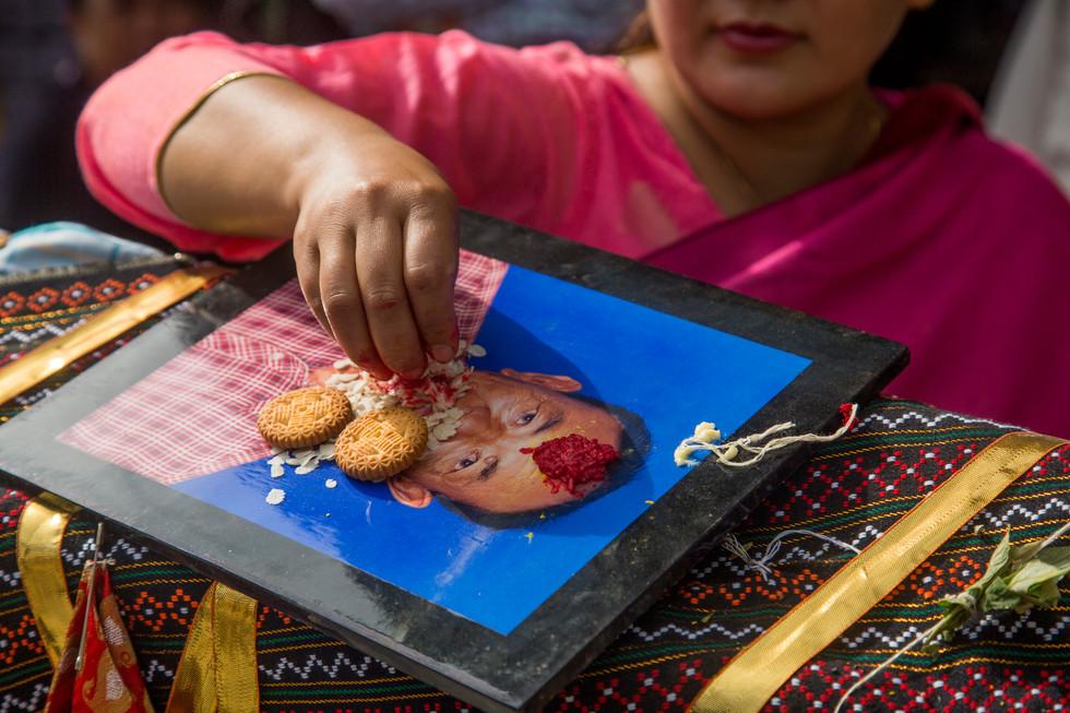 Blessing the Taha Macha, Bhaktapur 2018.