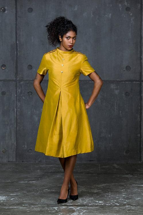 Mustard silk dupion shift