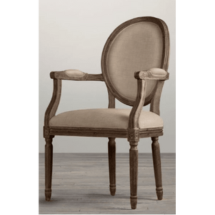 Side Chair Vintage French Round Flax