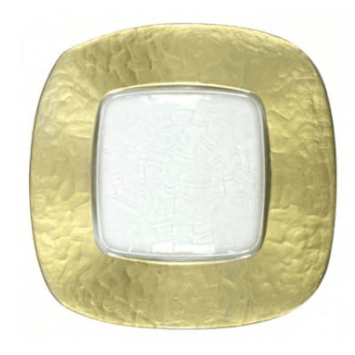 Square Hammered Glass Gold Charger