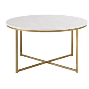 Coffee Table Round Faux Marble Gold