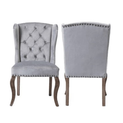 Side Chair Jolene Wingback Velvet Gray