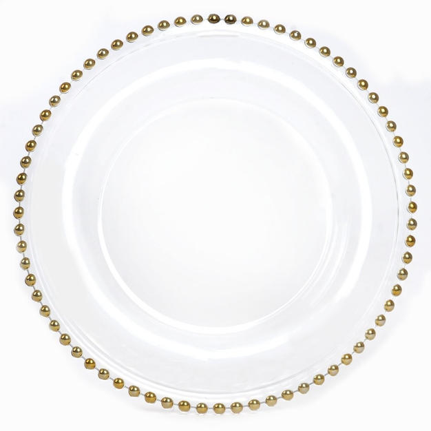 Gold Beaded Glass Charger