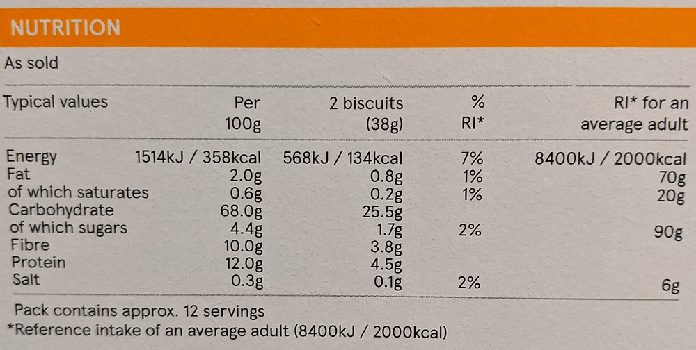 Nutrition label tesco wheat biscuits