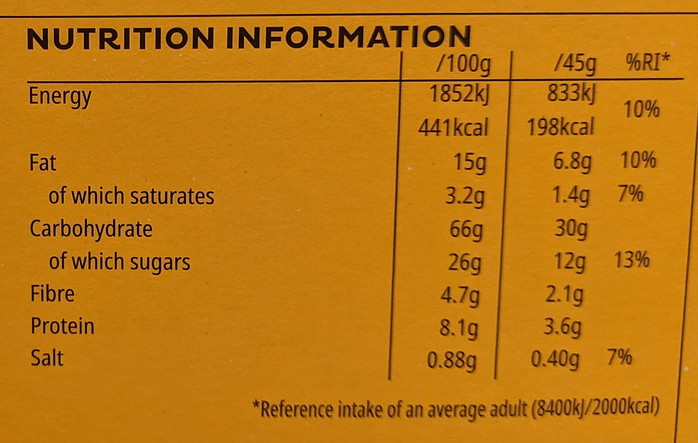 A high sugar breakfast cereal nutrition label - Crunchy Nut Clusters