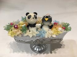 アニマルフラワー 結婚パーティ高砂 ギフト パンダとペンギン