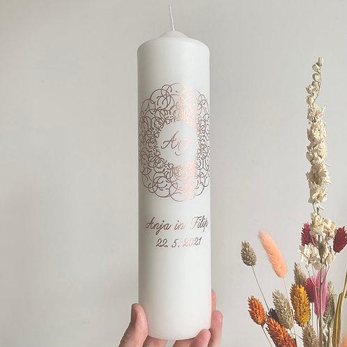 Poročna sveča rose gold