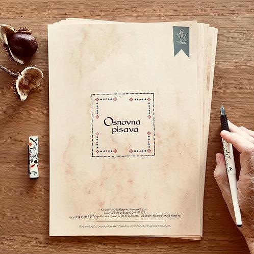 Kaligrafski delovni zvezek Osnovna pisava