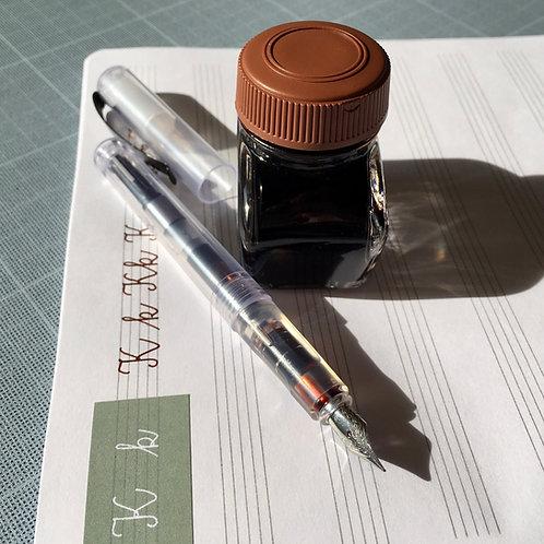 Nalivnik s konverterjem in konico EF, rjavo črnilo