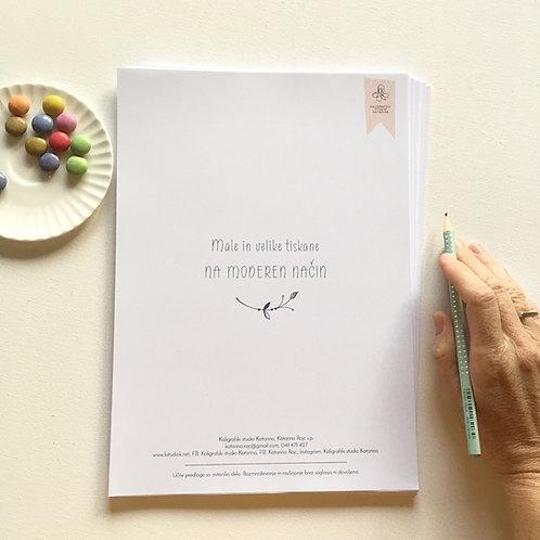Delovni zvezek Male in velike tiskane na moderen način