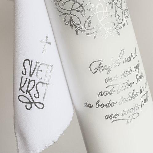 Krstna sveča in prtiček, personalizacija z doplačilom