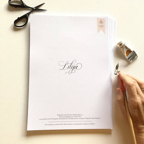 Kaligrafski delovni zvezek Lilija