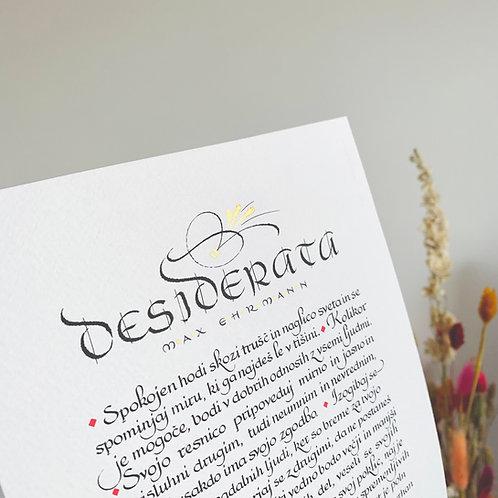 Desiderata - print kaligrafskega izpisa