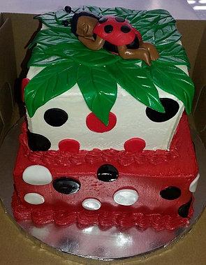 Vanilla Ladybug Baby Shower Cake