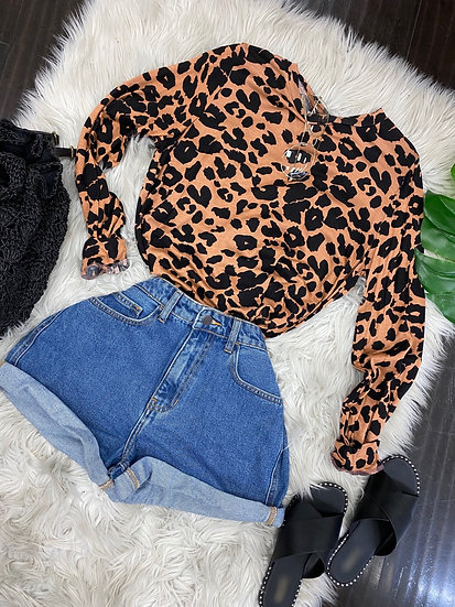 Daisy Mauve Leopard top