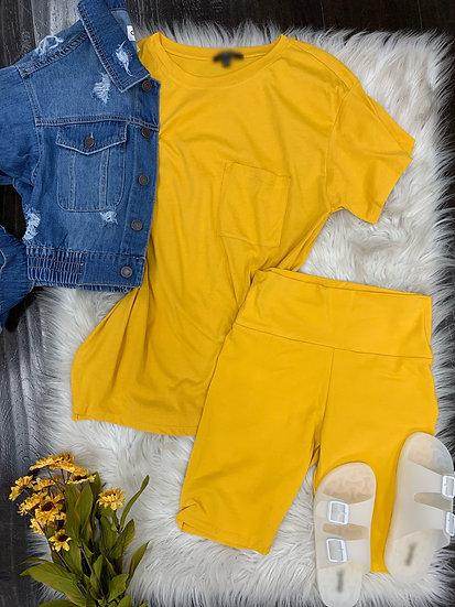 Kylie biker shorts ( mustard )