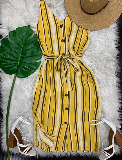 Juliana Striped Midi Dress ( Yellow )