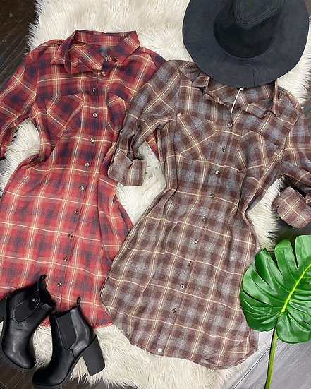 Fall plaid Dress with pockets