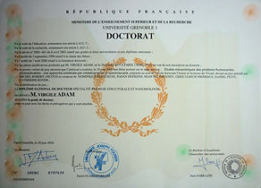 PhD diploma of Adam Virgile