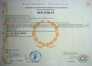 PhD diploma of Adam Virgile