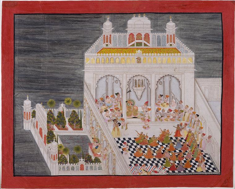 Maharana Ari Singh et ses invités auJag niwas Palace Artistes : Bhima, Kesu Ram, Bhopa & Nathu Date:1767A.D. The Metropolitan Museum of Art.