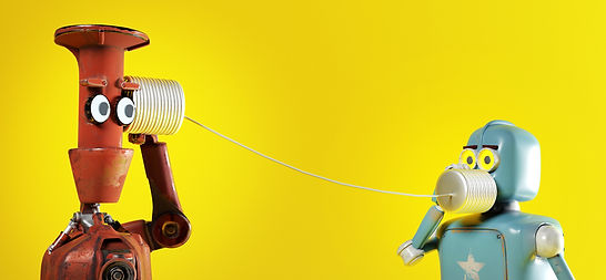 Retro-two-robots-with-tin-can-phones.-3d