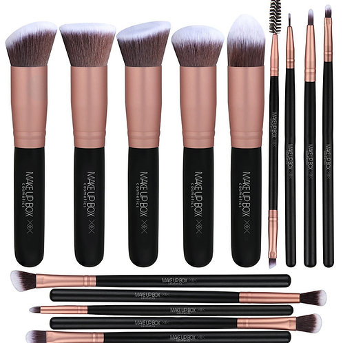 Black 14 piece kabuki Brush Set Rose Gold