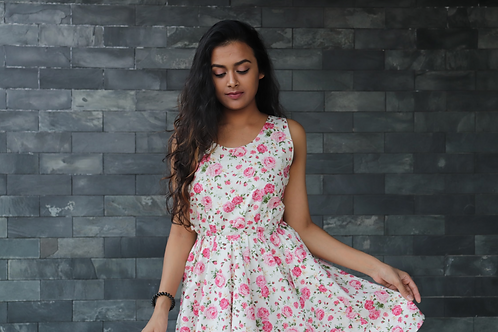 floral printed bow dress