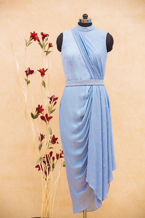 Powder Blue Drape Dress