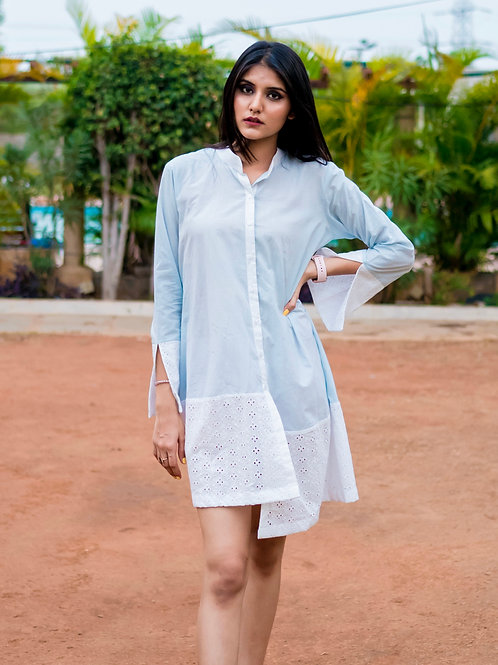 Blue and white shirt dress