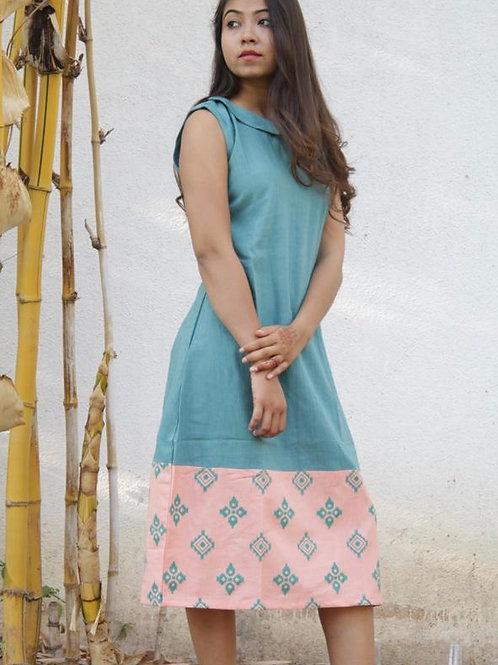 Blue and peach dress