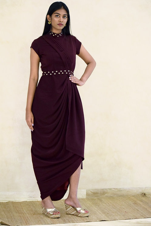 Burgundy Drape Dress