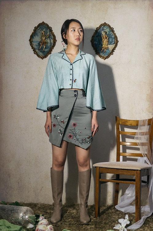3D embellished mini skirt