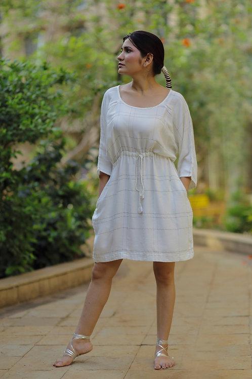 Ivory Check Pegged Dress