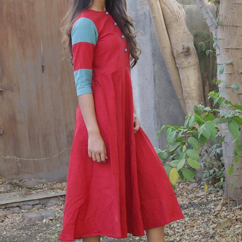 Red and blue kurti