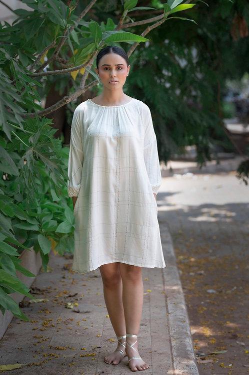 Ivory Check A-line Dress