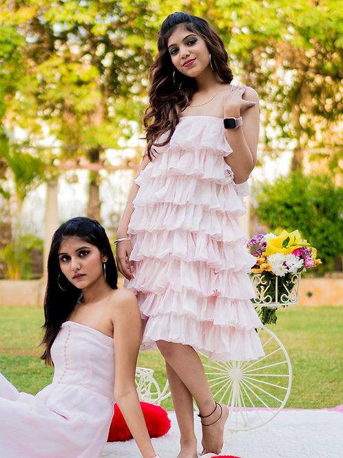Pink layered ruffles dress