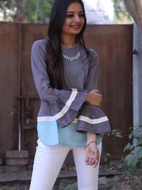 Grey and blue bell sleeve top