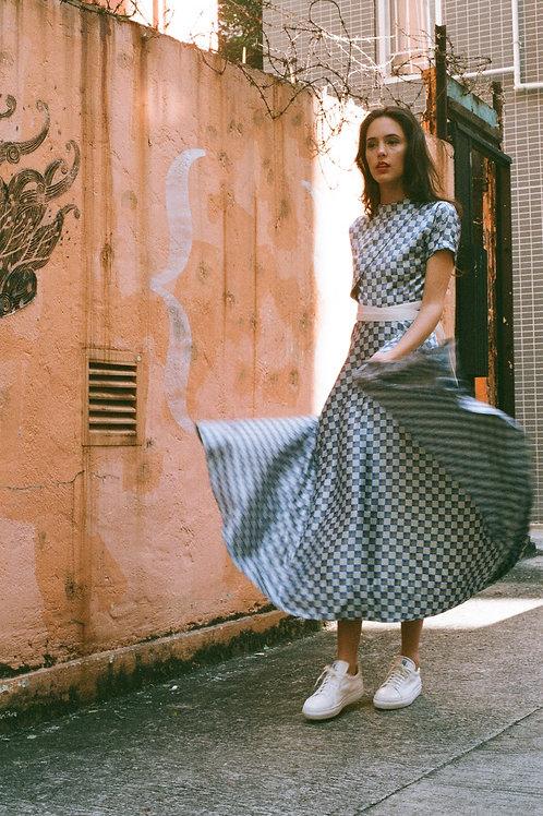 Checkered bias cut dress